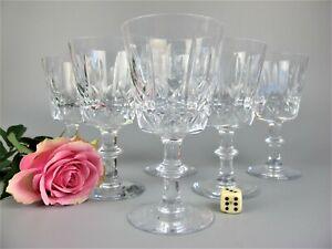 Set of 6 vintage cut crystal glass Port / small Wine Glasses. 100 ml