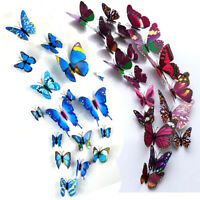 12pc 3D Butterfly Magnet Wall Stickers Colorful DIY Fridge Home Party Decoration