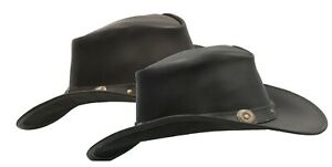 Walker and Hawkes - Leather Cowhide Outback Cowboy Conchos Hat