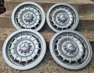 "RARE Set of 4 Vintage Mercedes-Benz Bundt Style 14"" Hubcaps Steel Wheel Covers"