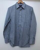 "J Crew Mens Long Sleeve Shirt Blue Green Plaid Small Size S 14-14.5"" Neck"