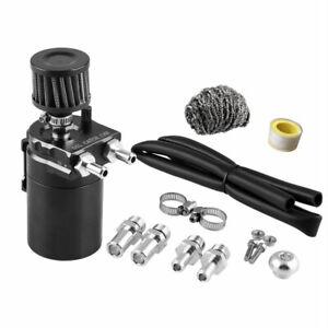 Black Cylinder Aluminum Engine Oil Catch Reservoir Breather Can Tank +Filter Kit
