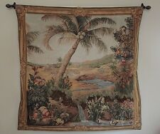 """L'Oasis Large Wall Hanging French Art Tapestry - 58"""" x 58"""" - Desert Oasis Scene"""