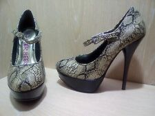 Dune Head Over Heels Size 4 Snakeskin Stiletto Heel Platform Shoes Worn Once