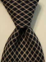 LUCIANO BARBERA Men's 100% Silk Necktie ITALY Designer CHECKERED Blue/Pink EUC