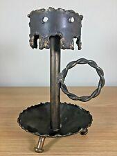 "Metalwork Welding Candle Holder Custom Made 7"" Industrial Art Table Top Decor"