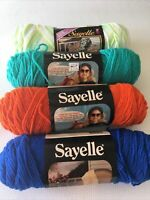 Lot 4 Vintage Sayelle Knitting Worsted WeIght Yarn 100% Orlon 4ply Multi Color