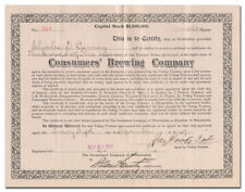 Consumers' Brewing Company Stock Certificate Issued to, SIGNED BY Charles Barney