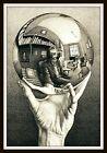 5' M.C. Escher Hand With Reflecting Sphere vinyl sticker. Surrealist art decal.