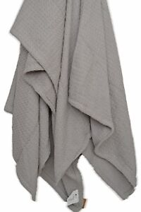 Grey Cotton Throw Large Soft Geometric Huge Waffle Knitted 180x230cm 1.8x2.3m