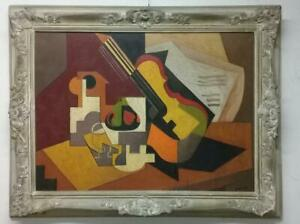 European Master JUAN GRIS - (style of) Oil Canvas Painting Cubism / Frame