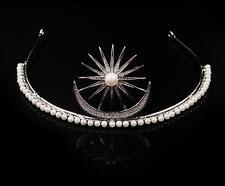 Vintage Princess Crown Pageant Tiara Wedding Rhinestone Headband Star Headpiece