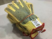12 new ANSELL Kevlar cut-resistant Goldknit Dotted Work Gloves #70-330 (9) Large