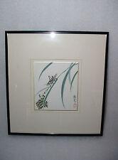 Vintage Oriental Japanese Original Grasshopper Framed Print Signed