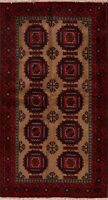 Geometric Brown Hand-Knotted Balouch Area Rug Home Decor Oriental Carpet 4'x7'
