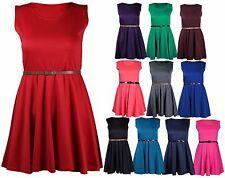 Womens New Flared Belt Dresses Ladies Sleeveless Skater Dress Plus Size 16 - 26