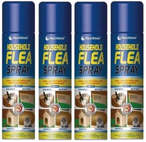4 Household Flea Killer Spray Aerosol Animal Flea Dog Cat Tick Protection 200ml