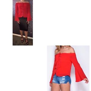 Lace-up flare sleeve Bardot top. Available in sizes 8-14. True to size.