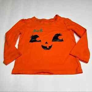 Children's Place Jack O'lantern Long Sleeve Tee Size 18-24 Months Glitter Orange