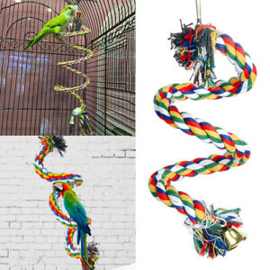 Parrot Swing Chew Rope Toys Cockatiel Hanging Rotating Ladder Bird Climb Toy