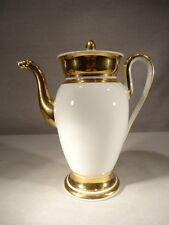 ANCIENNE VERSEUSE CAFETIERE EN PORCELAINE BLANCHE ET OR STYLE EMPIRE EPOQUE 19 è