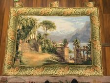 Collectible Used Woven Tapestry European Lakeview Terrace Wall Hang Great 50x37