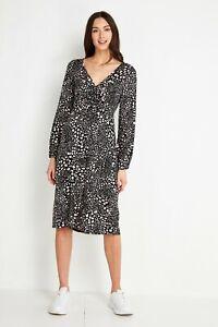 Wallis Petite V neck Black Pink Animal Print Viscose Midi Jersey Stretch Dress