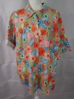 JUST MY SIZE womens 3X(22-24W) short sleeve button down linen rayon top