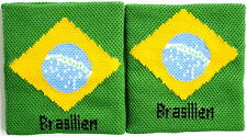Pair of Brazil Flag Wrist Sweatbands Wristbands Football Gym Running Exercise