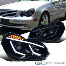 For 01-07 Benz W203 C-Class Glossy Black LED Projector Headlights Head Lamps