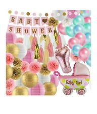 41 Piece Pink And Gold Baby Shower Decorations