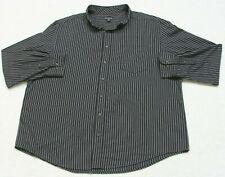 George Black & Gray Striped Dress Shirt Cotton Long Sleeve 2XL 50-52  Mens Mans