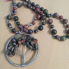 Unakite Beads Stainless Steel Tree of Life Necklace (20 in) TGW 225.00 cts.