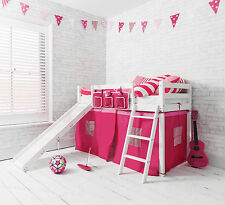 Cabin Bed Shorty 2'6 with Slide Junior Bed Oskar in White with Pink Tent Kids