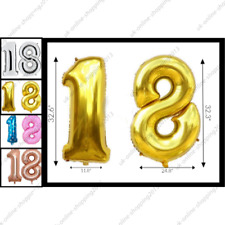 "32"" Giant 18th Birthday Party Number  Foil Balloon Air Decoration Age 18 baloons"