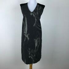 Stile Benetton Shift Dress Size S Gray Black Sleeveless Womens V Neck Career