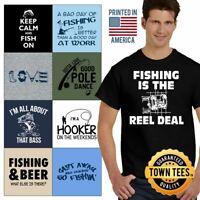 Angler Tee Shirt Fisherman T-Shirt Mens Boat TShirts Lure T Shirt For Women Gift