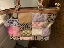 Coach Patchwork Multicolor Leather & Suede Tote Handbag Shoulder Bag