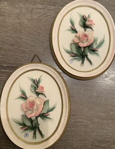 2 Capodimonte Italian Porcelain Flower Pink Rose Bouquet Gold Framed Wall Plaque