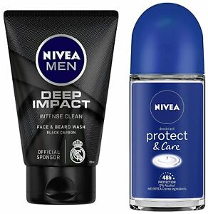 NIVEA Men Deep Impact Face Wash,100Gm + Roll On, Protect & Care, 50ml