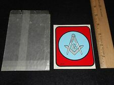 "vintage Masonic decal G compass & square 1960s 4"" tall warm water usable cond"
