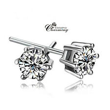 925 Stirling Silver 18K White Gold Sparkling Clear Crystal Earring RRP:$45