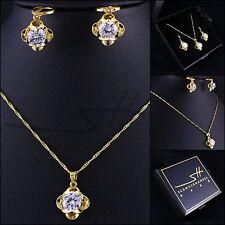 1A Geschenkset: Kette+Ohrhänger *Blume* Gelbgold pl., Swarovski Elements, +Etui
