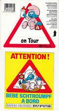 2 Schlumpf Aufkleber BABY on tour  / bebe schtroumpf a bord u.a. dupuis