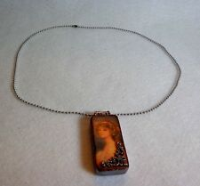DOMINO PENDANT - DOUBLE SIDED - VICTORIAN LADY AND # 5 ON BACK SIDE-BEADED CHAIN