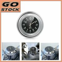 "Black Dial Clock 7/8"" 1"" Motorcycle Handlebar Chrome WATERPROOF For Harley Honda"