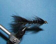 Woolly Bugger - black - bead head -12 wet flies.