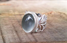 PURE 925 STERLING SILVER GREY MOONSTONE WOMEN HEAVY HANDMADE FINE WIDE BAND RING