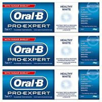 3 Oral-B Pro Expert Healthy White Fluoride Toothpaste Whitening Mint SugarShield