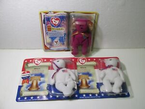 McDonald's Set Of 3 TY Beanie Babies Millennium & Libearty Happy Meal Toy t5143